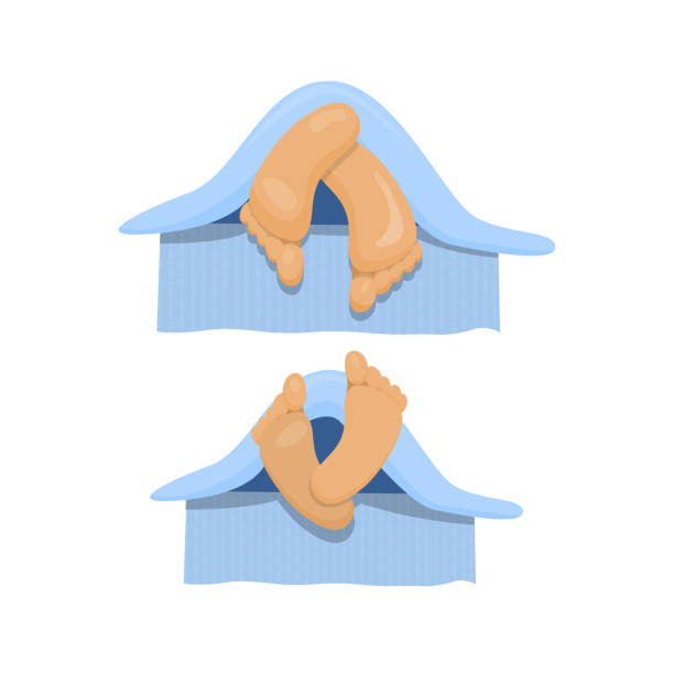 nahaufnahme von zwei füße in einem bett. vektor-cartoon-illustration. - möbelfüße stock-grafiken, -clipart, -cartoons und -symbole