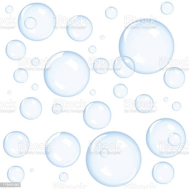 Close Up Of Various Sizes Bubbles On White Background向量圖形及更多半空中圖片
