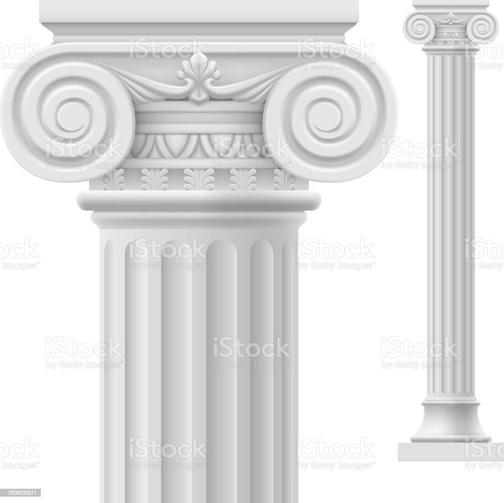 Close up of white Roman column vector art illustration