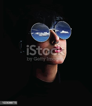 Engraving illustration of a Close up of woman, sunglasses and reflection of sky and clouds