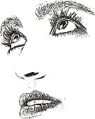 Pen and ink style illustration of a woman's eyes and mouth. High key and cut out.