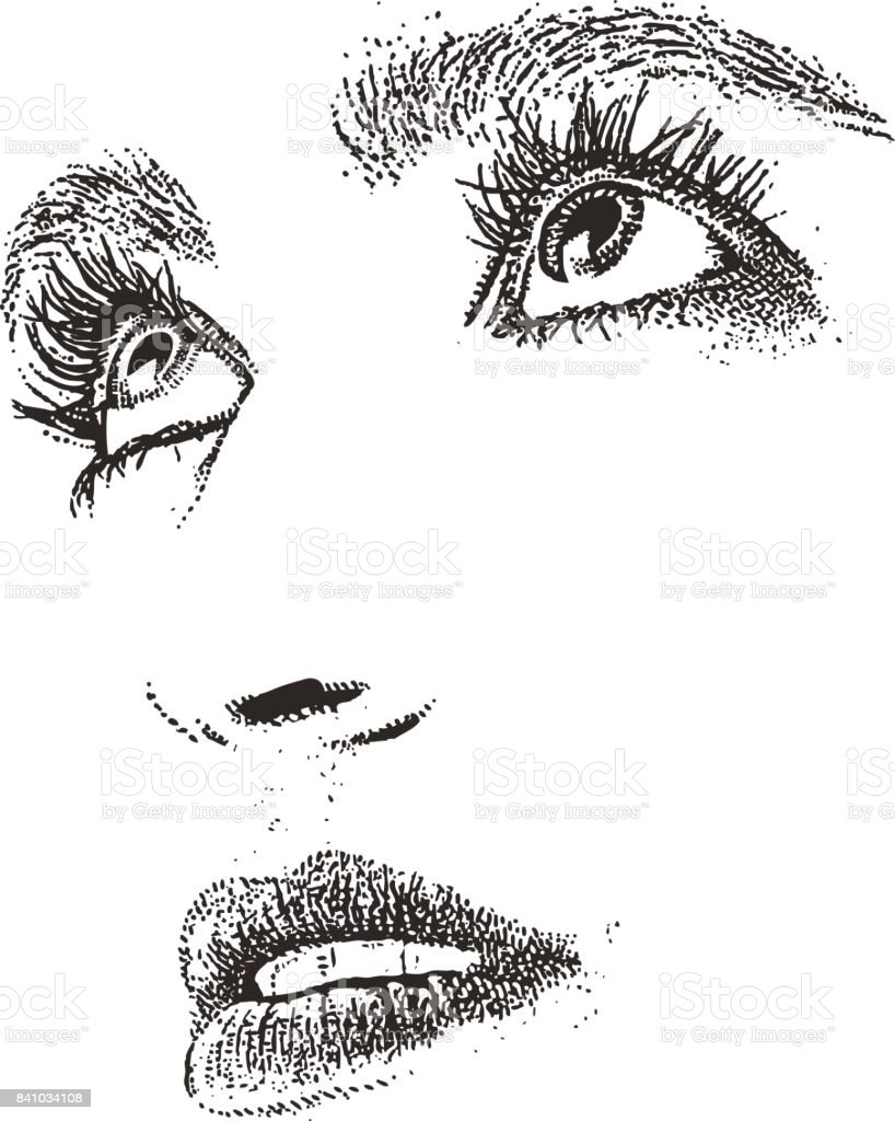 Close up of woman's eyes and mouth. Cut out. vector art illustration