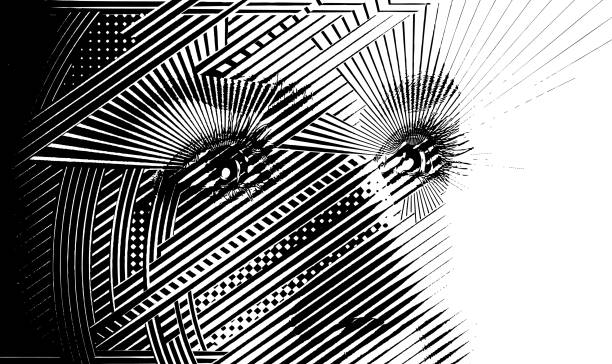 Close up of woman's eyes with hopeful expression vector art illustration