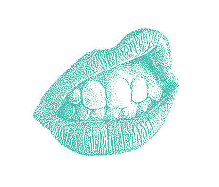 Vector stipple illustration of expressive lips and teeth