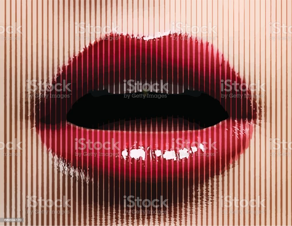 Close up of woman's open mouth and lips vector art illustration