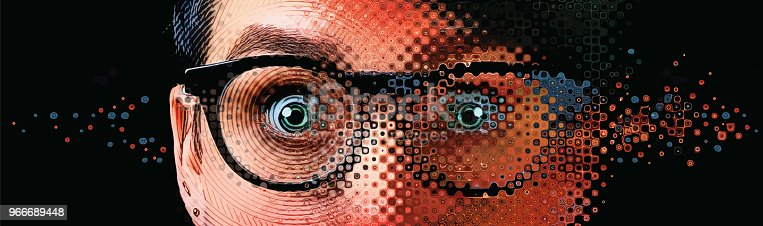 istock Close up of women's eyes with shocked expression and glitch technique 966689448