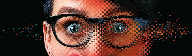 Close up of women's eyes with shocked expression and glitch technique Close up of women's eyes with shocked expression shock stock illustrations
