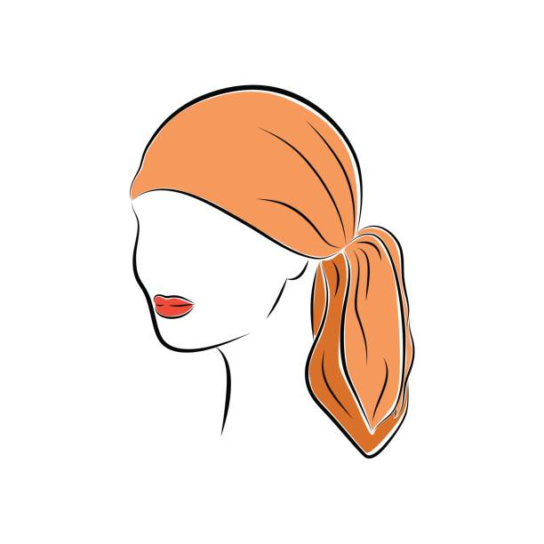 Close up portrait. Beautiful young woman in an orange head bandana. Bright lips painted on her face. Vector sketch in hand drawing style for your design. Close up portrait. Beautiful young woman in an orange head bandana. Bright lips painted on her face. Vector sketch in hand drawing style for your design. EPS10 format. headscarf stock illustrations