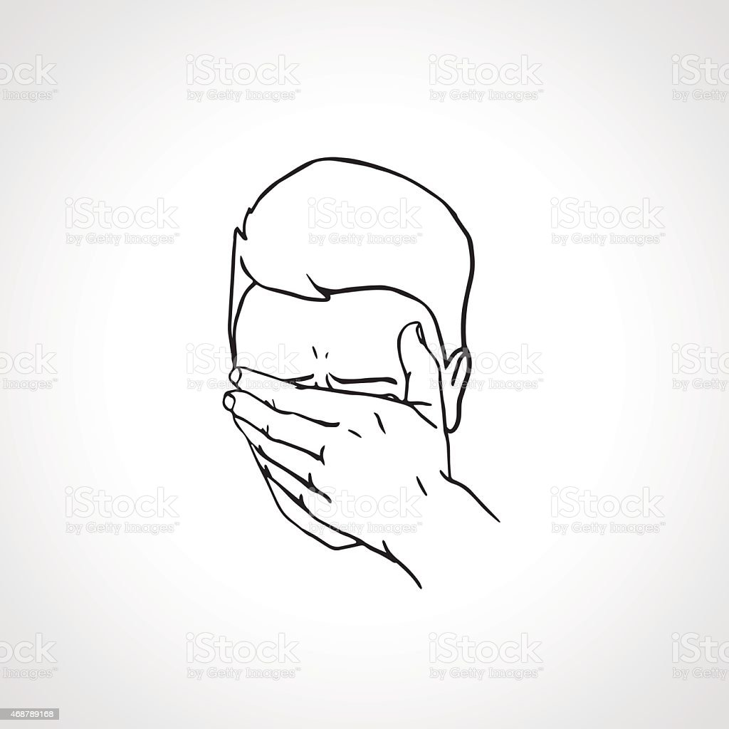 Close up portrait of a Face Palmed Guy. vector art illustration