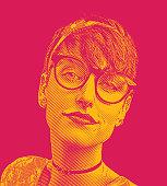 Engraving illustration Close up portrait of a nerd woman's face