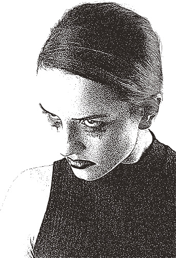 Close up portrait of angry, sad young woman