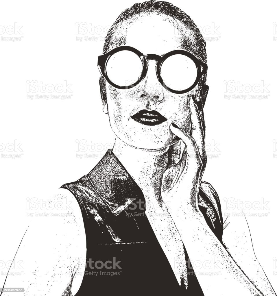 Close up portrait of woman with hair pulled back vector art illustration