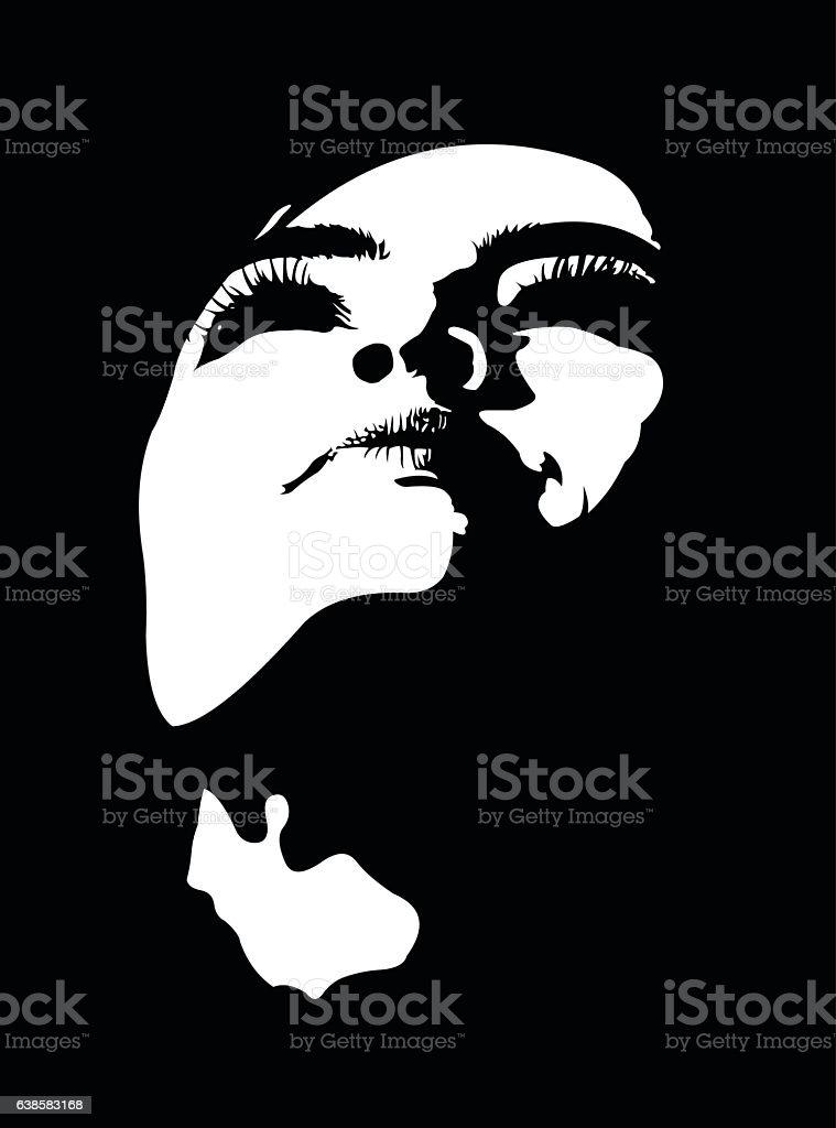 Close up portrait of woman with head tilted back – Vektorgrafik