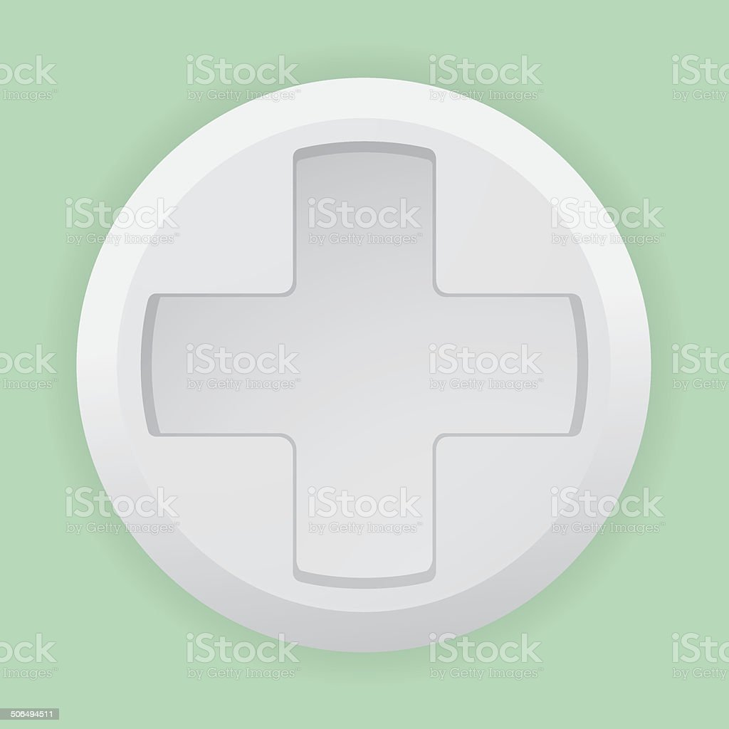 Close white pill with a white cross royalty-free stock vector art