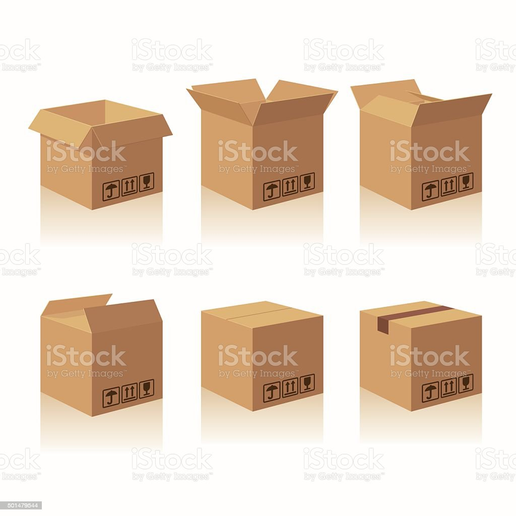 Closed and open carton delivery packaging box with fragile signs vector art illustration