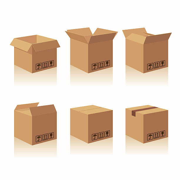 stockillustraties, clipart, cartoons en iconen met closed and open carton delivery packaging box with fragile signs - karton