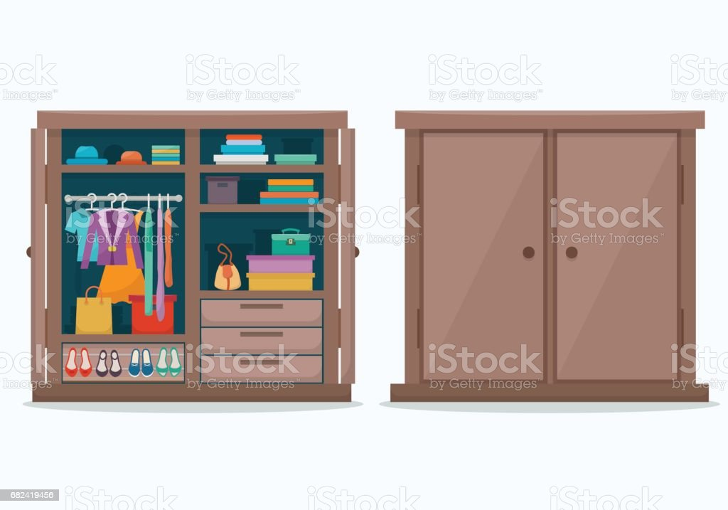 Closed and open cloths wardrobe. royalty-free closed and open cloths wardrobe stock vector art & more images of arts culture and entertainment