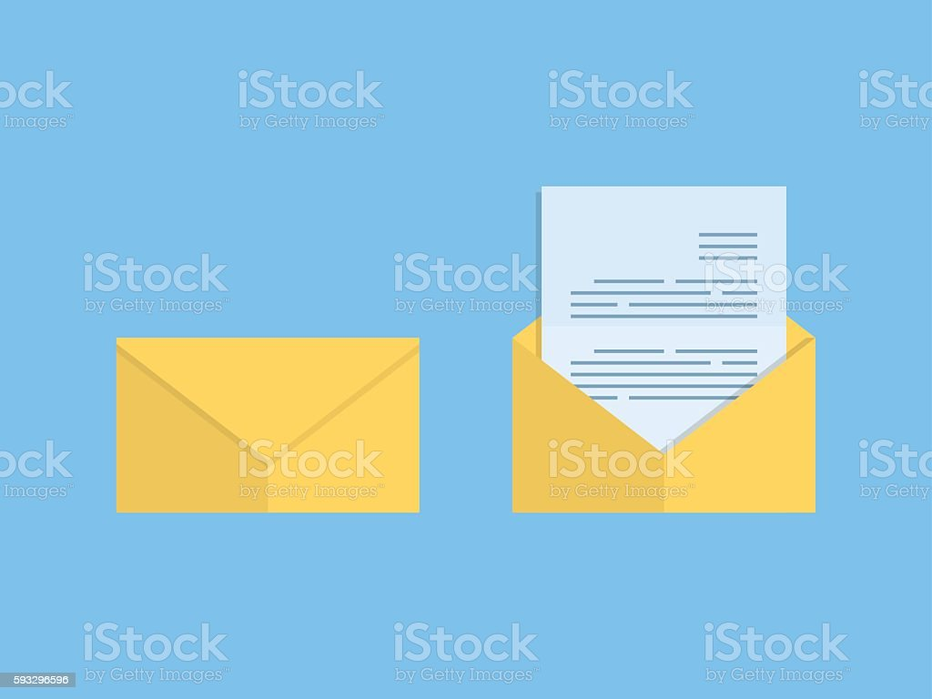 Closed and open mail vector art illustration