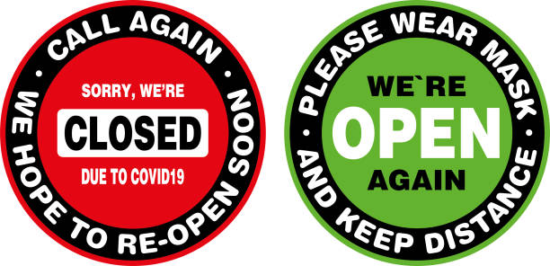 Closed and Open Signage or Door Sticker. Closed and Open Signage or Door Sticker for Coronavirus Covid-19 Quarantine. Vector sign. open sign stock illustrations
