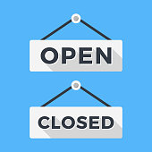 Closed and open signs. Long shadow flat design. Vector signs set
