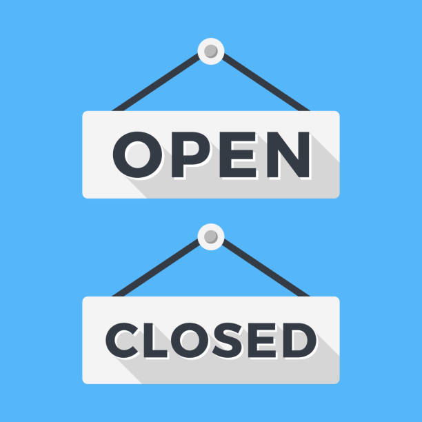Closed and open signs. Long shadow flat design. Vector signs set Closed and open signs. Long shadow flat design. Vector signs set isolated on blue background open sign stock illustrations