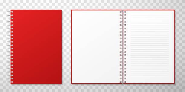 zamknięte i otwarte notesy wektorowa realistyczna ilustracja - notes stock illustrations