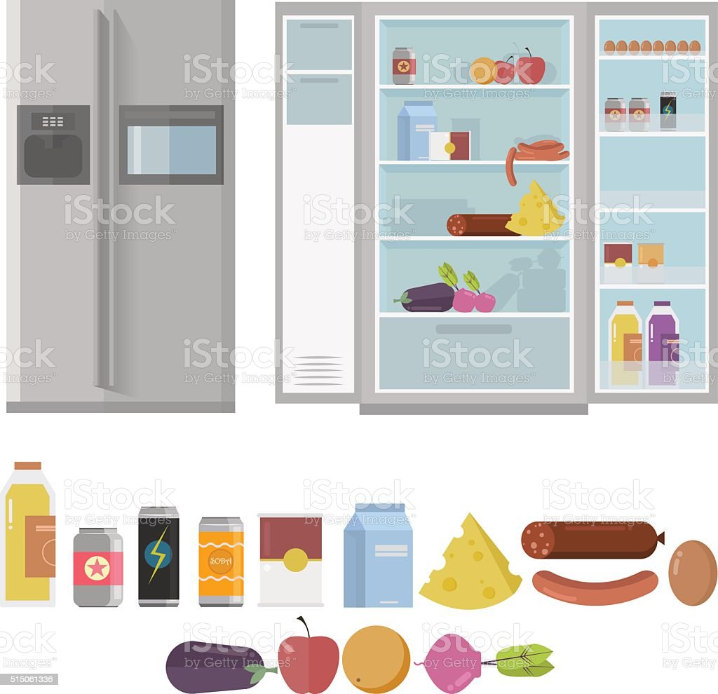 Closed and Opened Refrigerator Full Of Food and Drinks. vector art illustration