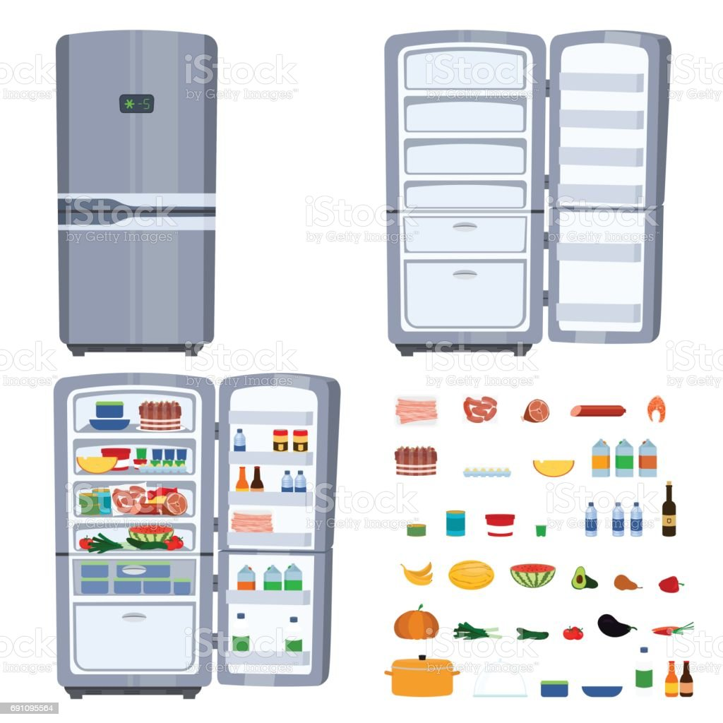 Closed and opened refrigerator with food isolated on white background vector art illustration