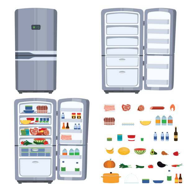 Closed and opened refrigerator with food isolated on white background Vector cartoon illustration of opened Refrigerator full of food. Closed fridge as a home kitchen appliance. Food set with meat, cheese, diary, vegetables and fruits. Health food cocept. Hunger symbol. refrigerator stock illustrations