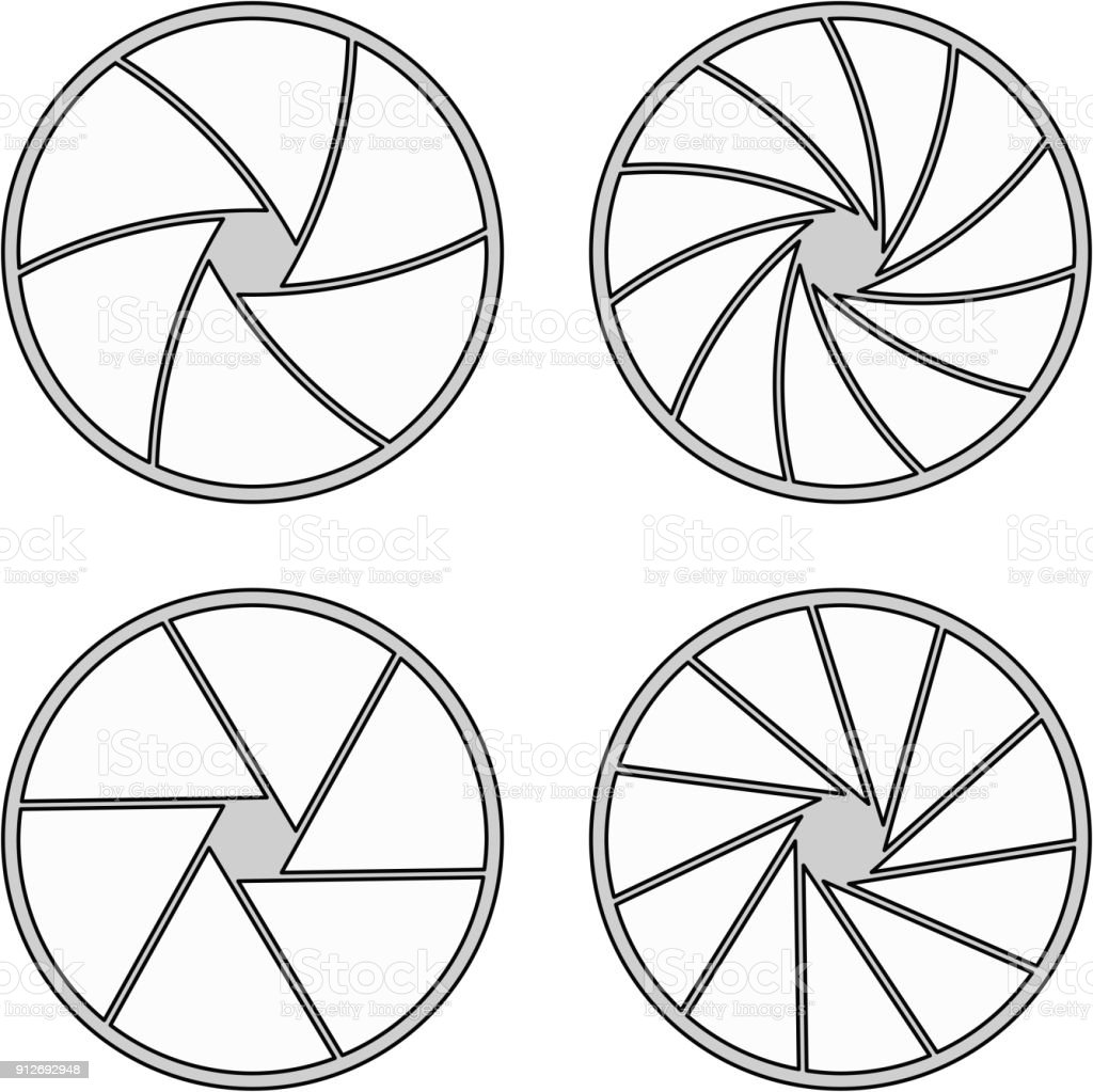 closed aperture with 6/11 blades and different styles vector art illustration