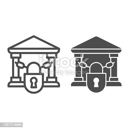 istock Closed bank with lock line and solid icon, Banking concept, chains in building sign on white background, bank closed on lock with chains icon in outline style for mobile and web. Vector graphics. 1257214994