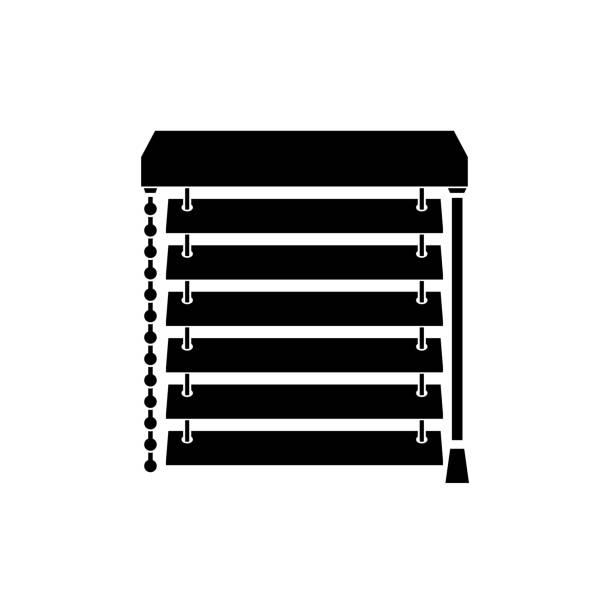 ilustrações de stock, clip art, desenhos animados e ícones de closed blinds on the window black silhouette - com portada