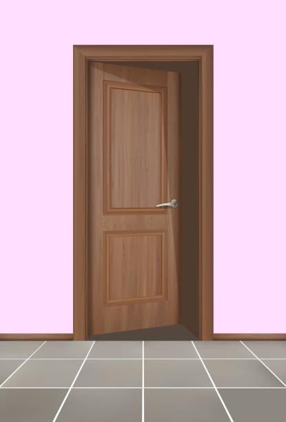 ilustrações de stock, clip art, desenhos animados e ícones de closed brown wooden doors vector illustration. realistic style. - going inside eye