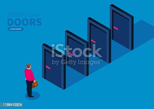 Closed door blocks businessman forward