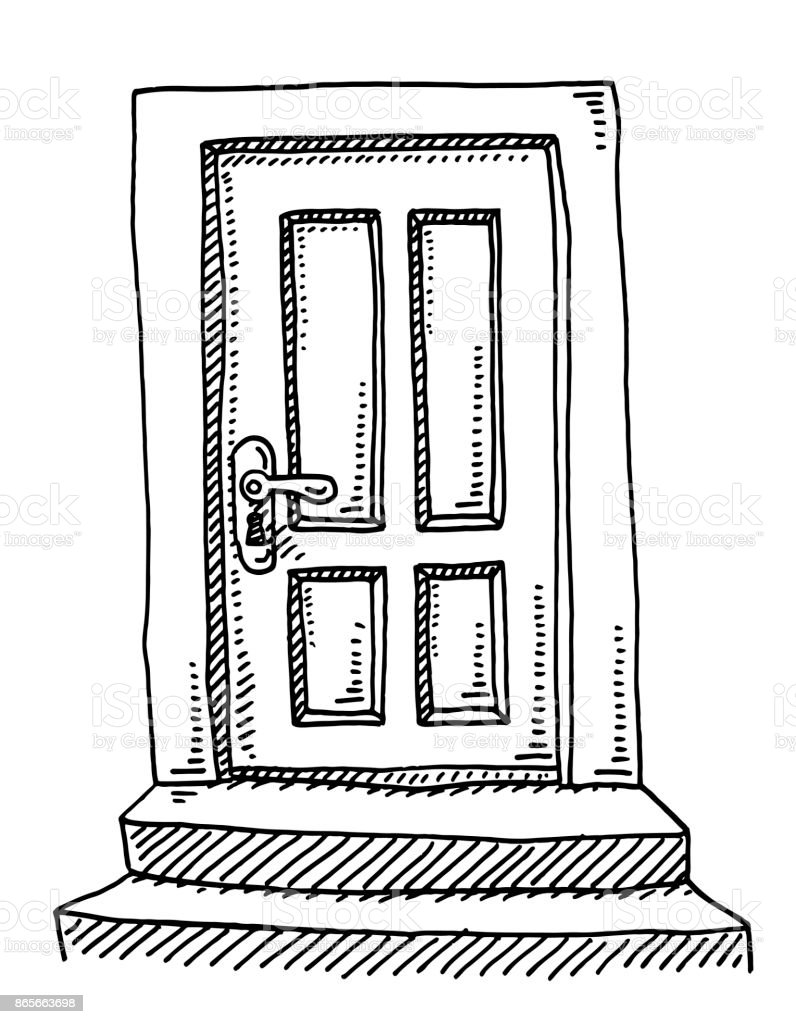 Line Drawing Door : Closed door drawing open perspective