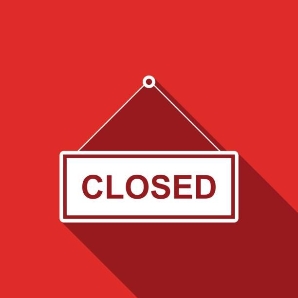 closed door sign flat icon with long shadow. vector illustration - прикрывать stock illustrations