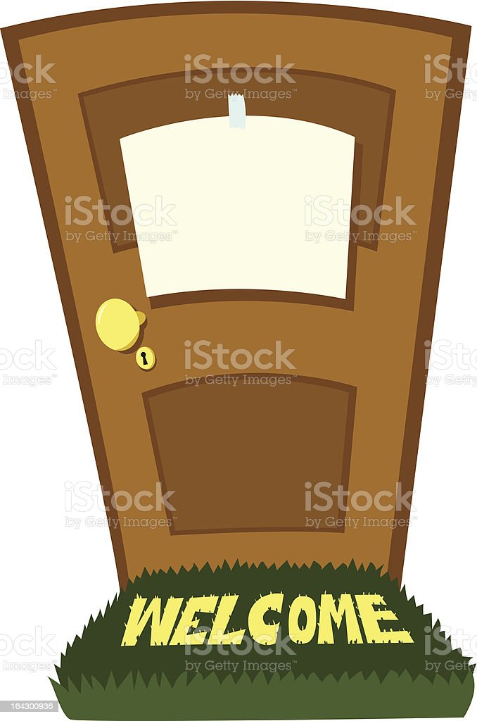 closed door with blank sign royalty-free stock vector art