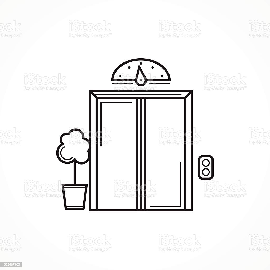 Closed elevator door black line vector icon vector art illustration