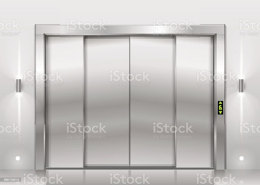 Closed elevator doors vector art illustration