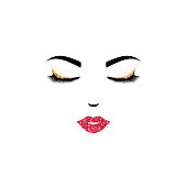 Woman face design with closed eyes and pink lips. Vector illustration. Girl eyelashes for cosmetics, beauty and fashion themes. Eyelashes and gold eyeshadows for luxury make up style