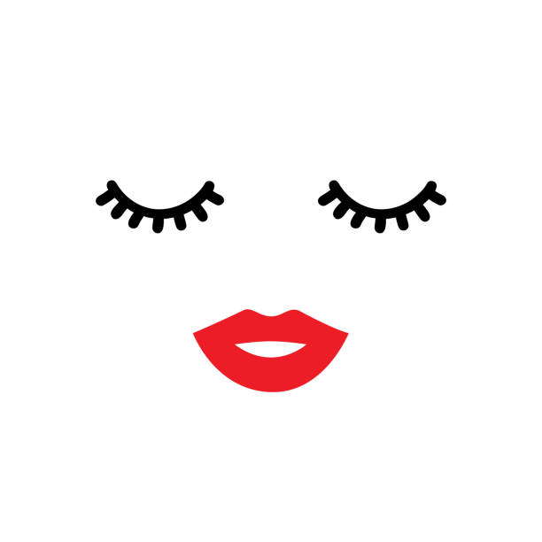 Closed eyes and red lips. Vector illustration Closed eyes and red lips. Vector illustration human lips stock illustrations