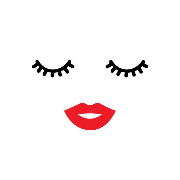 閉上眼睛和紅唇。向量插圖 - 睫毛 幅插畫檔、美工圖案、卡通及圖標