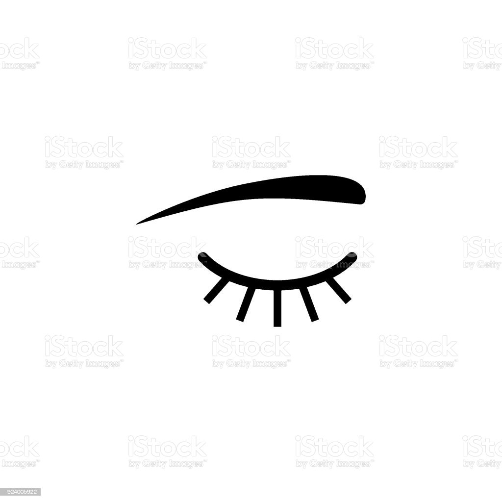 Closed eyes with long eyelashes vector icon vector art illustration