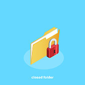 closed file with lock, isometric icon