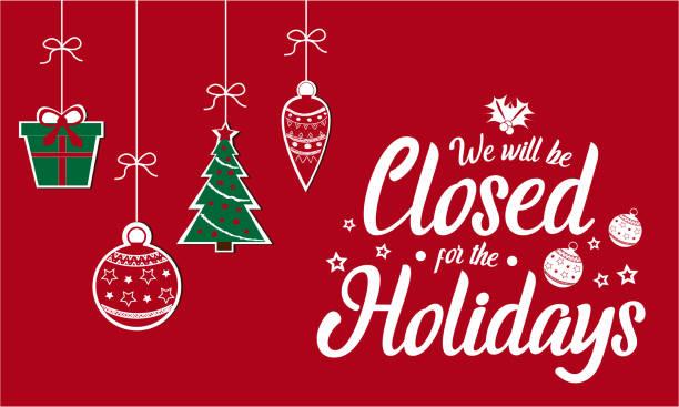 stockillustraties, clipart, cartoons en iconen met gesloten voor de feestdagen - dicht