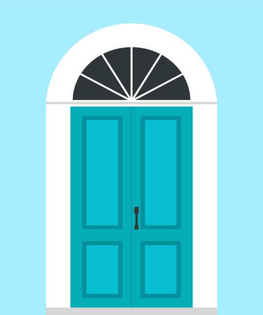 Closed front door. Flat design. Vector illustration. Vector illustration. front door stock illustrations