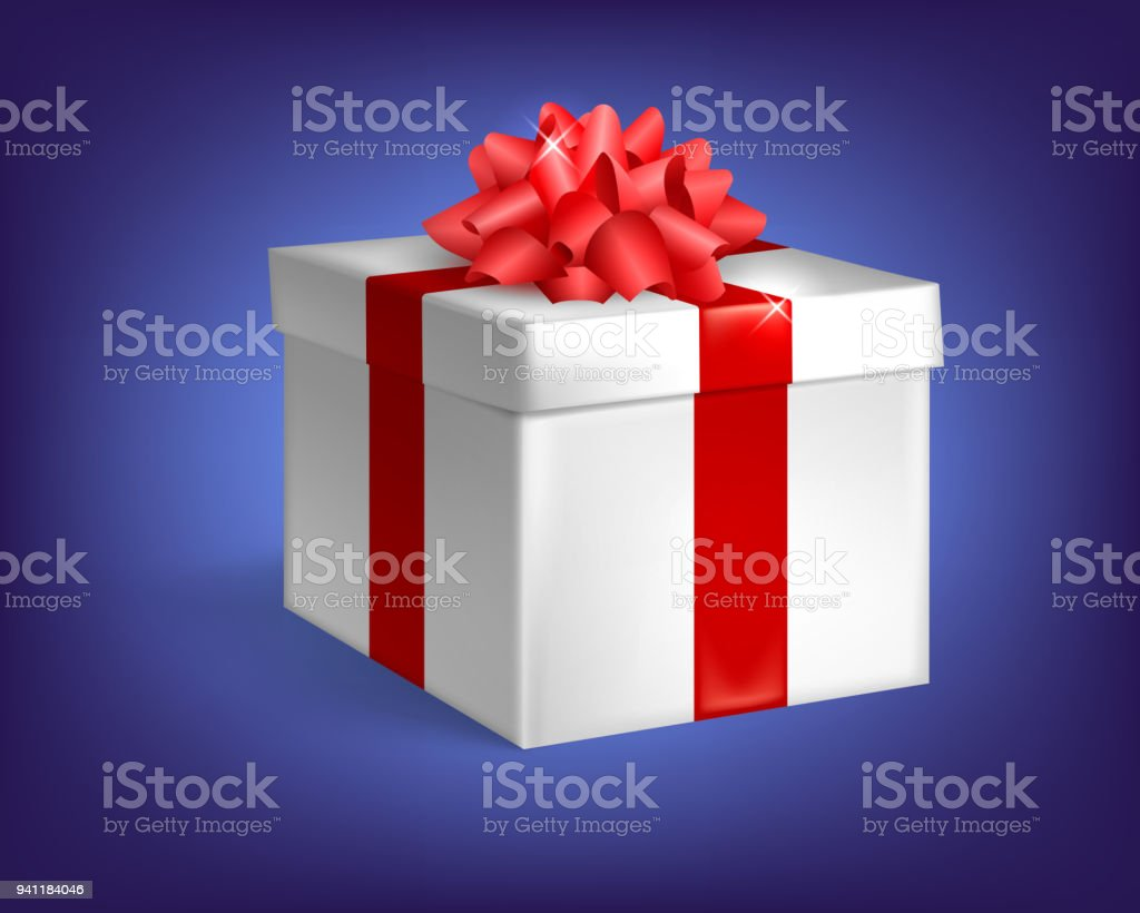 Closed gift, isolated, white gift box with red ribbon and bow
