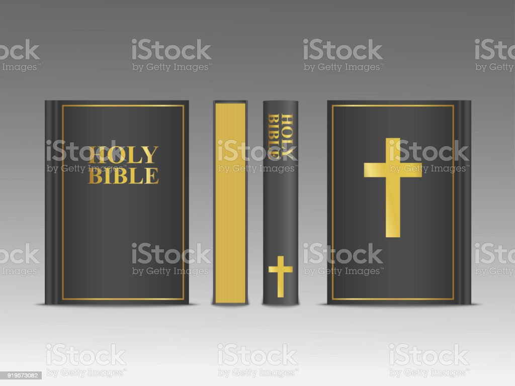 Closed Holy Bible Vector 3d Template Religion Book Mock Up ... Holy Bible Side Cover