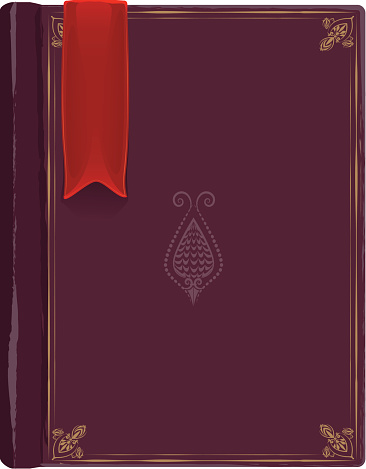 Closed old book with a red bookmark