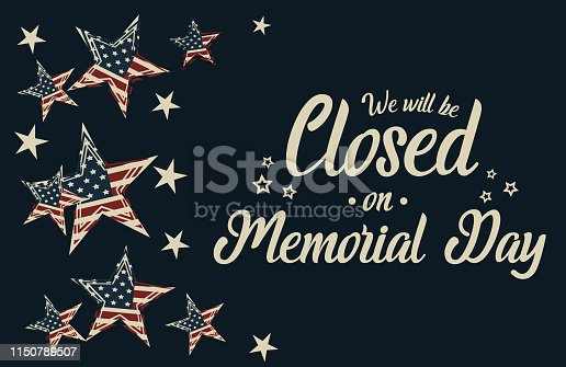 Memorial day, we will be closed card or background.vector illustration.